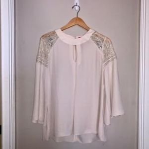 Cream Keyhole Front Top with Lace Detailing